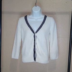 Ann Taylor LOFT Textured White Cardigan Black Trim